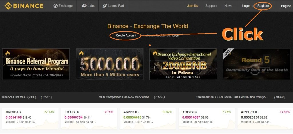 BINANCE ,Register
